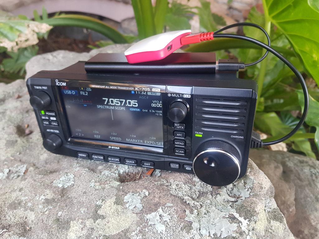 Photo of IC-705 with Raspberry Pi Zero W