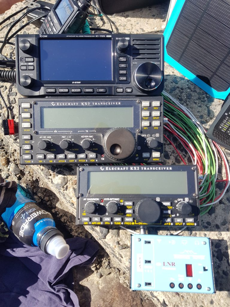 Photo showing IC-705, KX3, KX2, MTR3B